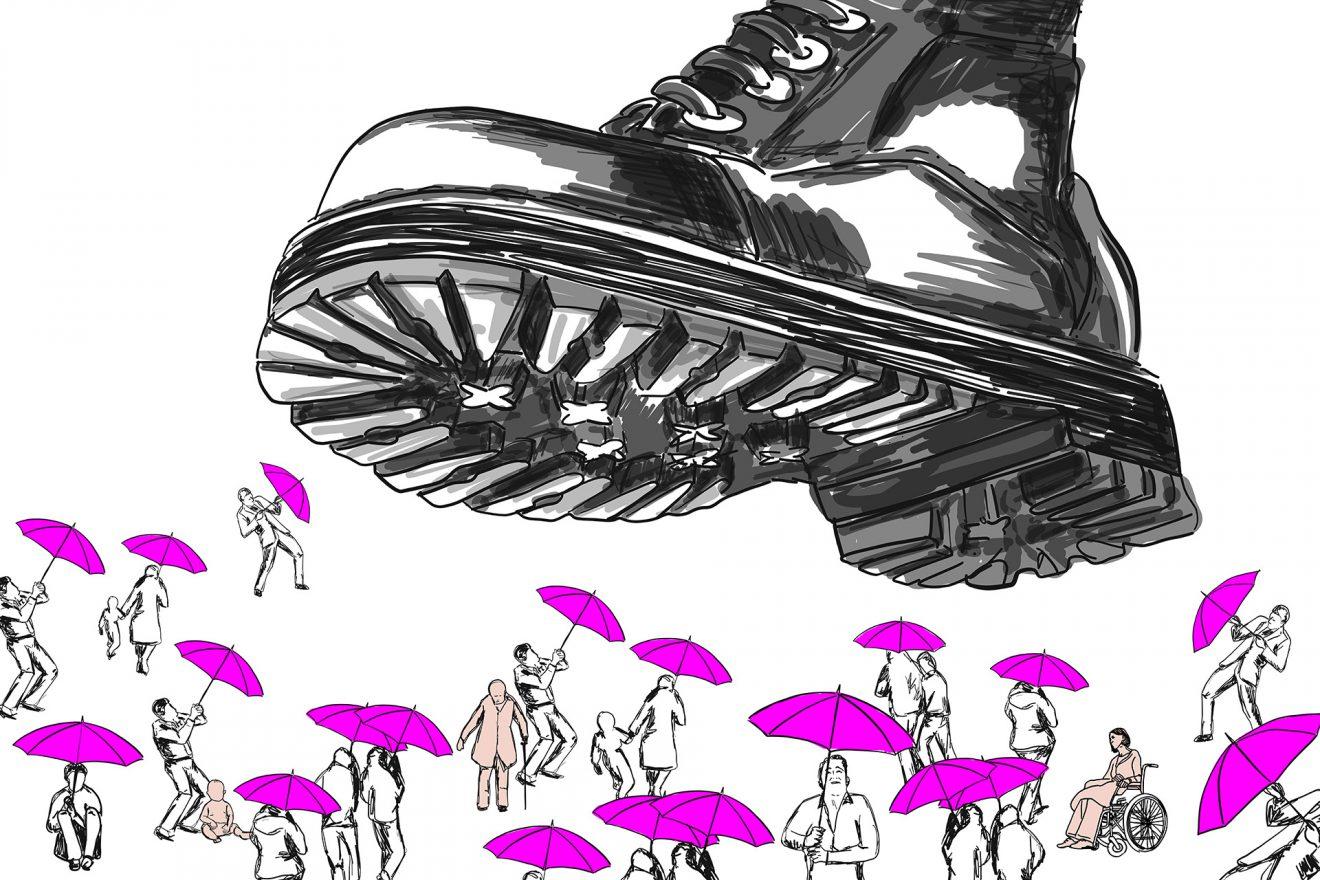 Illustration eines Stiefels, der auf Menschen steigt