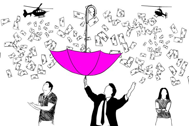 Wirtschaft Krise Illustration Helikoptergeld