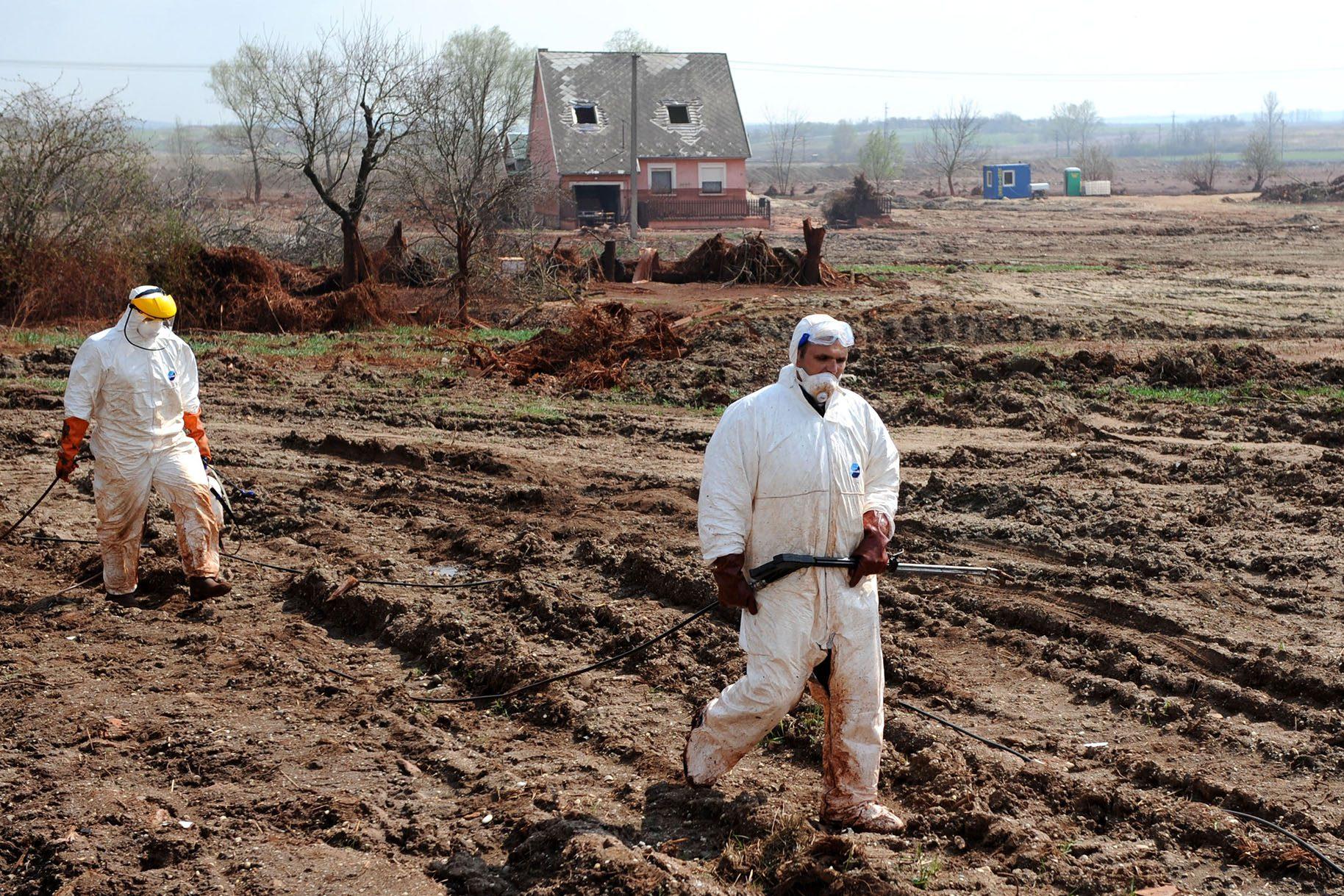 Ökozid im April 2011: das vom roten Industrieschlamm verseuchte Gelände im ungarischen Kolontár