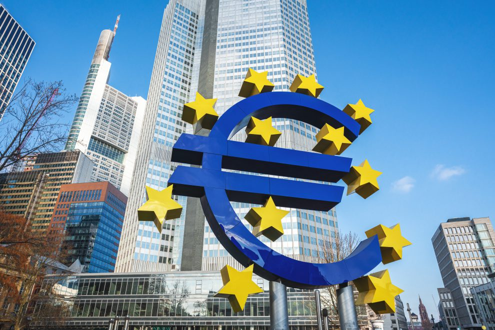 Frankfurt, Germany - Jan 23, 2020: Sculpture with Euro Sign and Stars - Currency sign for the Euro used in the Eurozone of European Union - Frankfurt, Germany