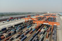 CHINA BELT AND ROAD NEW SILK ROAD An aerial view of the Qingbaijiang Railway Port where freight trains travel between China and Europe during the 'One Belt, One Road' initiative in Chengdu city, southwest China's Sichuan province, 30 April 2019. (Imaginechina via AP Images)