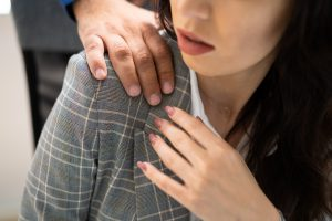 Sexual Harassment At Workplace In Office. Worker Woman And Man